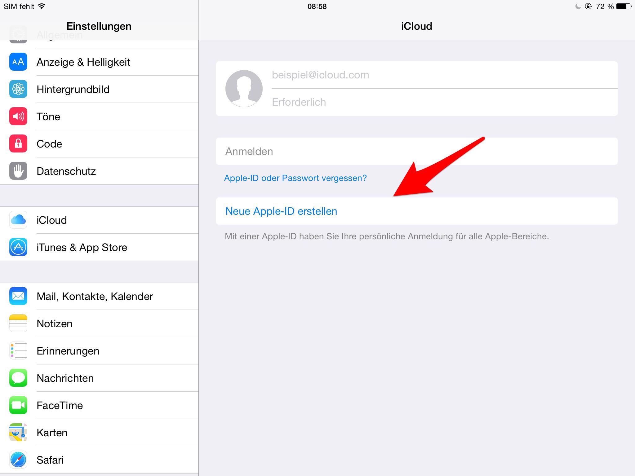 wie erstelle ich eine apple id auf dem iphone